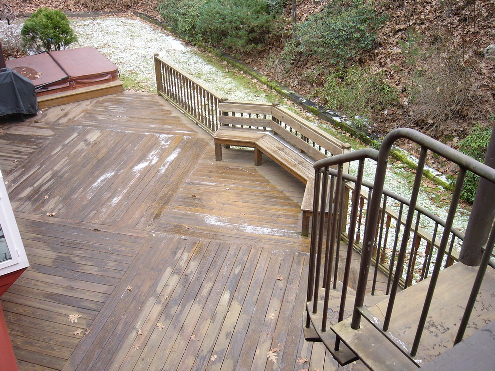 The unique, outdoor staircase allows a direct route from the upstairs to this great backyard deck!