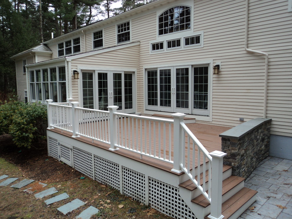 With two access points to this deck, you know it will get lots of summertime use. The lattice and stonework finish the look.