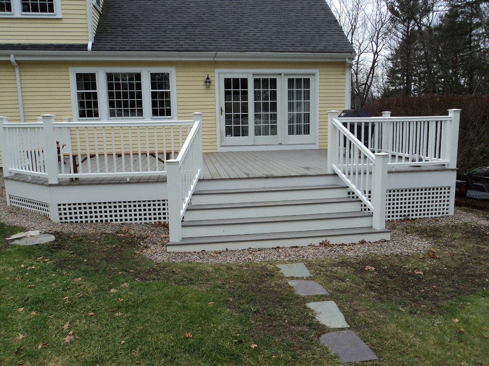Notice how the widening stairs improve the look of this deck without changing the usable space or function.