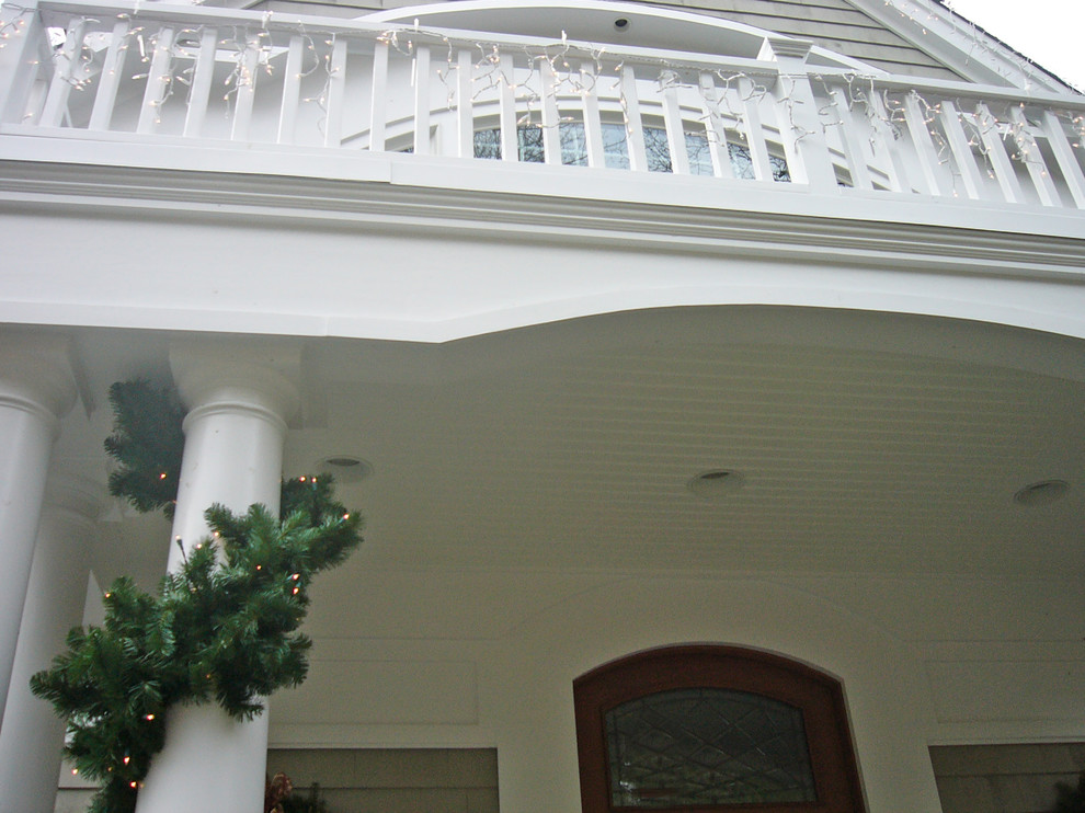 Another view of this beautiful porch and balcony.