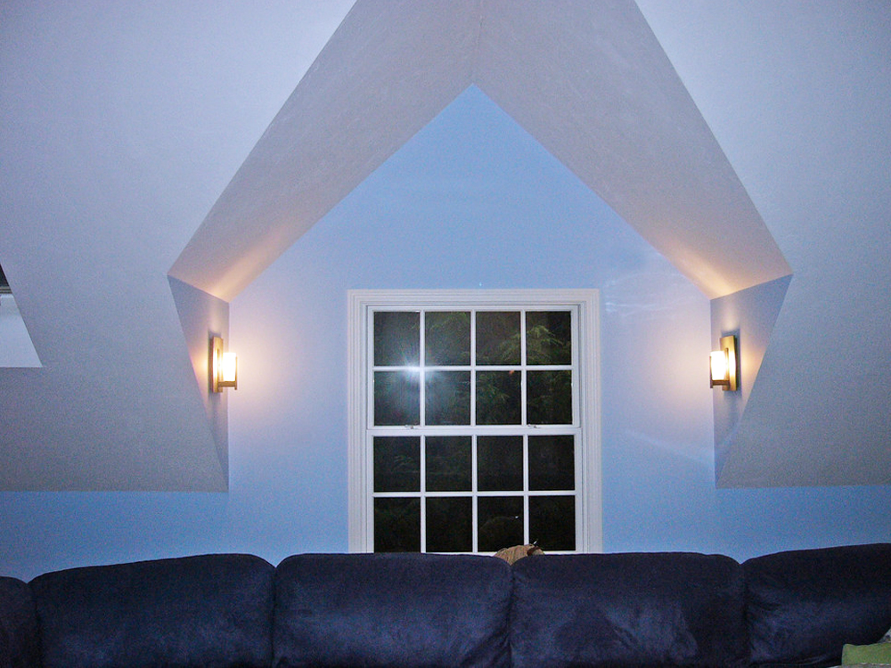 Another example of Don Wright's perfect customized ceiling angles and window.