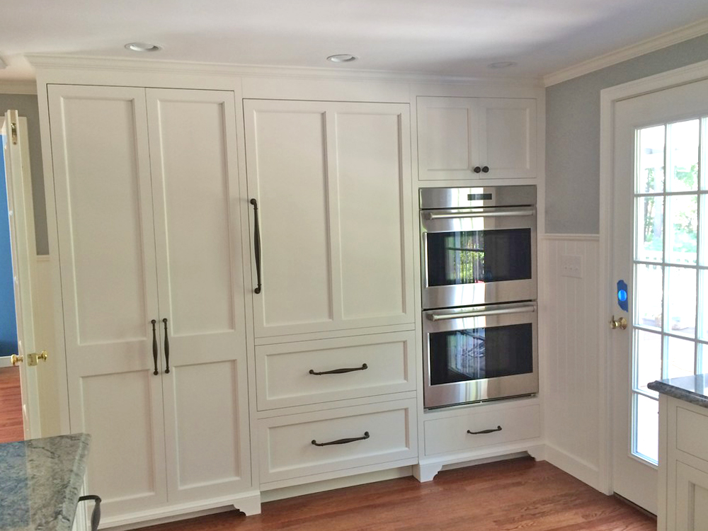 large pantry cabinets and double oven