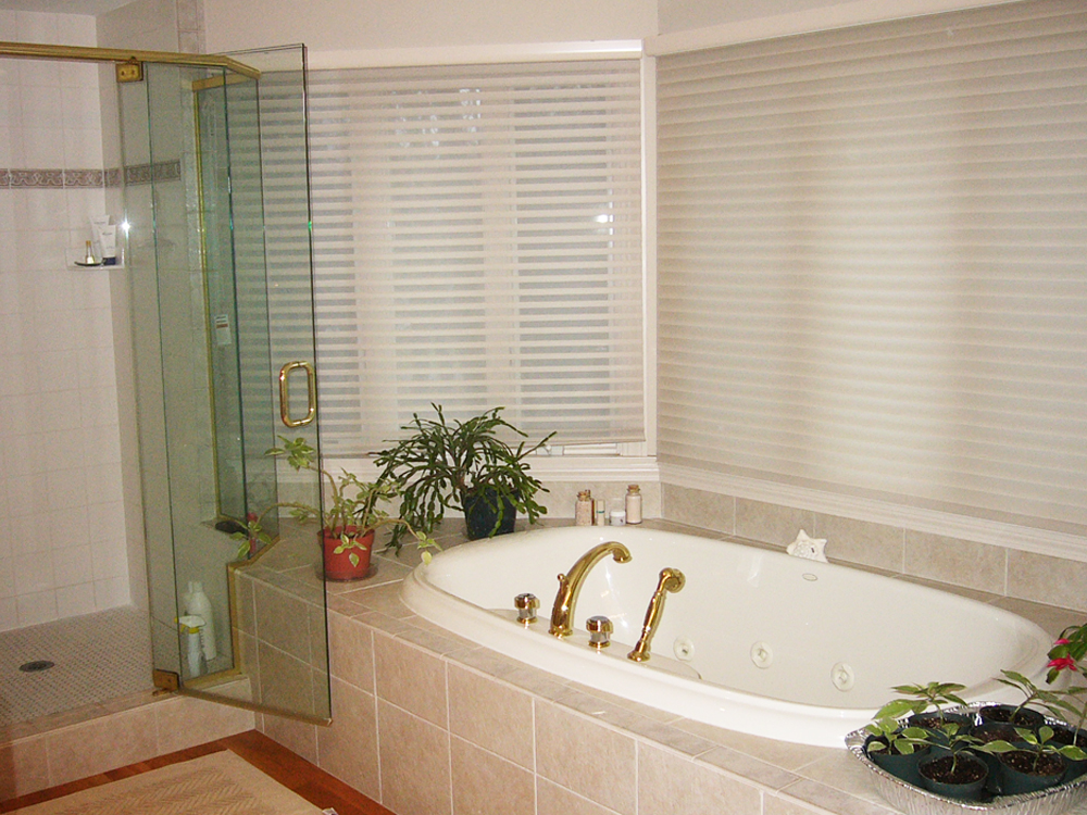 Tiled Jacuzzi tub and glass shower