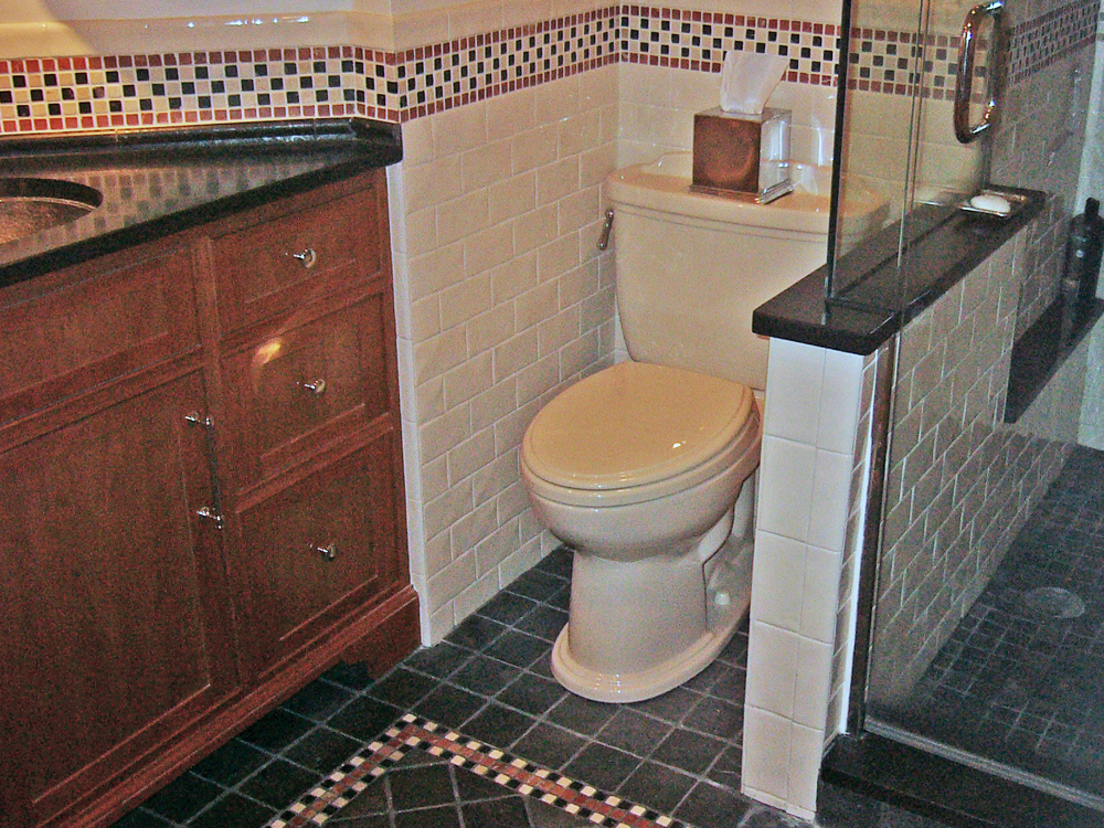 LOVE the way the floor and wall tiles dress up this small space. As usual with Don Wright, every detail is perfect.