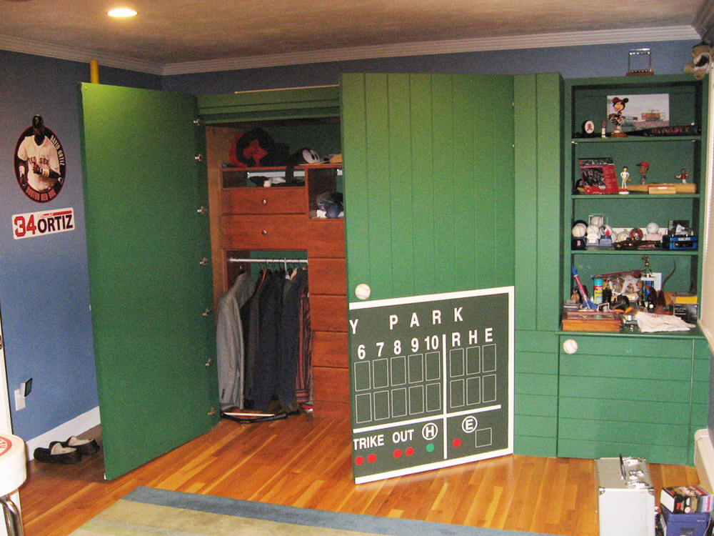 Here is a second view of Don Wright's incredible custom Green Monster - customized cabinets for a child's room.